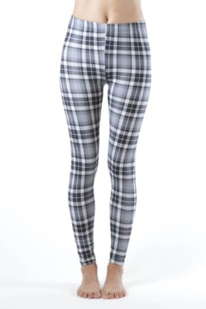 White Patch Plaid Ankle Length Leggings