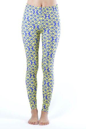 Triangular Print Blue & Yellow Footless Leggings