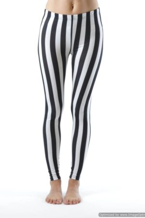 Jailbird Black And White Stripe Ankle Leggings