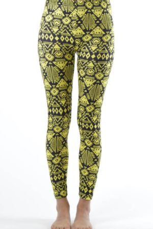 Funky Yellow Tribal Ankle Leggings