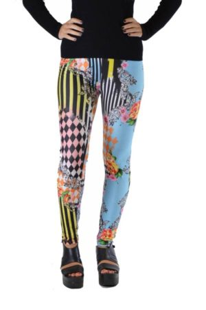 Harlequin Patch Striped Floral Leggings
