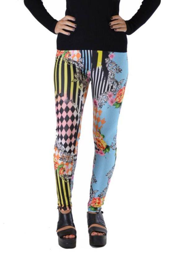 Harlequin Patch Striped Floral Leggings