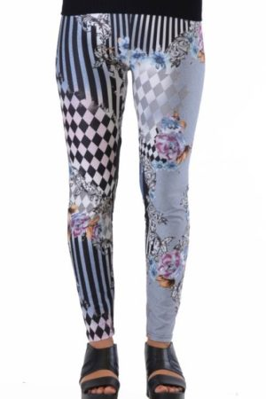Harlequin Style Striped Floral Leggings