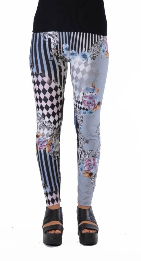 Harlequin Style Striped Floral Leggings