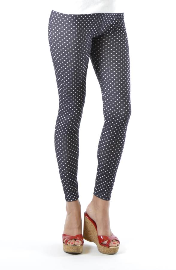 White Polka Dot Ankle Leggings
