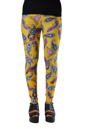 Yellow Paisley Plus Size Leggings