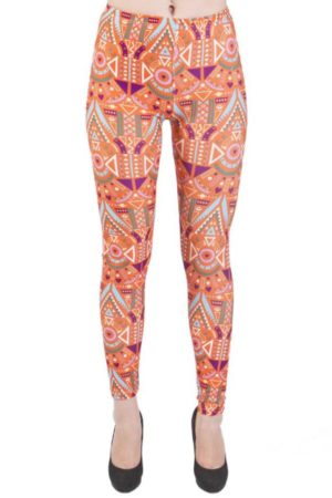Plus Size Orange Funky African Footless Leggings