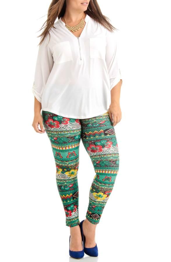 56b3a5785 Green Floral Tribal Plus Size Leggings