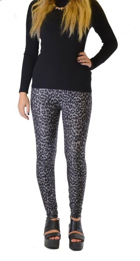 Deep Grey Leopard Print Plus Size Leggings