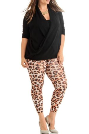 Plus Size Ankle Length Cheetah Leggings