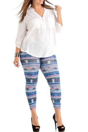 Plus Size Tribal Weave Winter Blue Ankle Leggings