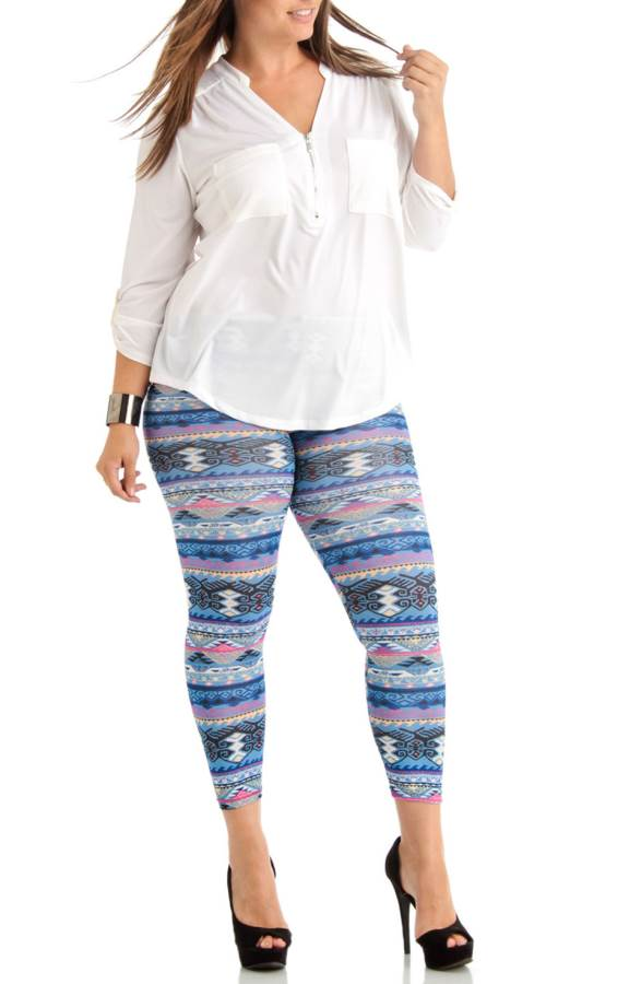 Plus Size Tribal Weave Winter Blue Ankle Leggings