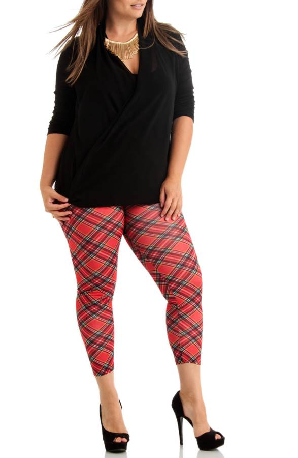 Plus Size Ankle Length Red Plaid Leggings