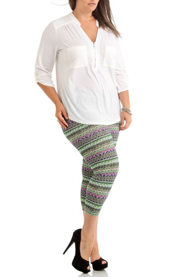 Vibrant Winter Plus Size Tribal Ankle Leggings