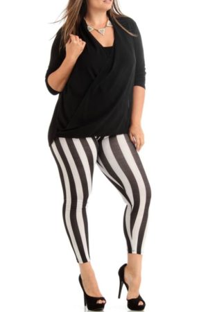 Jailbird Black And White Stripe Plus Size Ankle Leggings