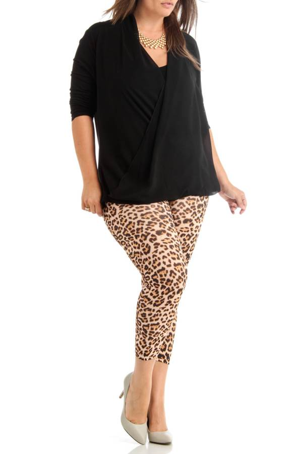 Plus Size Leopard Print Ankle Leggings