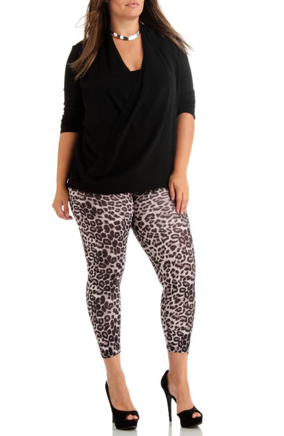 Plus Size Grey Leopard Ankle Length Leggings