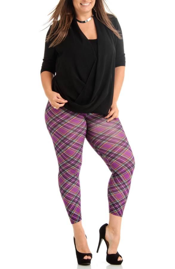 e617edce7 Footless Violet Patch Plaid Plus Size Leggings