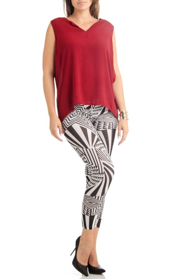 Plus Size Black & White Horizon Footless Leggings