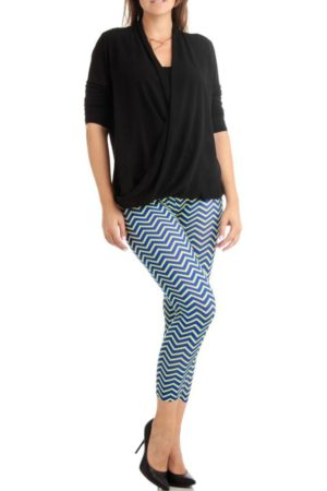 Plus Size Blue and Yellow Chevron Arrow Ankle Leggings