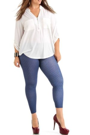 Plus Size Polka Dot Navy Blue Ankle Leggings