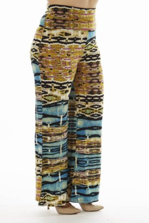 High Waist Blue Egyptian Plus Size Palazzo Pants