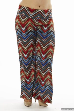 High-Waisted Chevron Plus Size Palazzo Wide Leg Pants