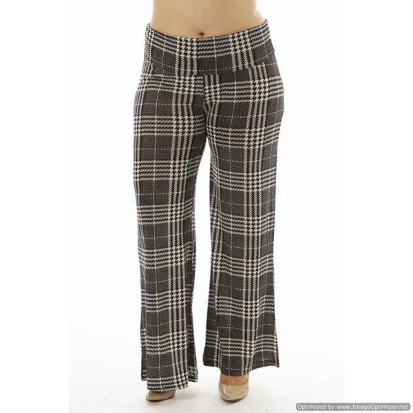 7ec298d5771 High-Waisted Plaid Plus Size Palazzo Flare Pants