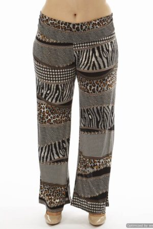 Animal Print Patch Plus Size Wide Leg Palazzo Pants