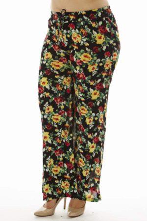 Vibrant Floral Plus Size Flare Leg Palazzo Pants