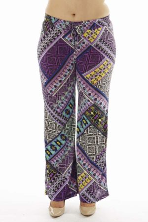 ZigZag Tribal Plus Size Wide Leg Palazzo Pants