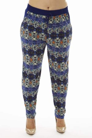 Geometric Kaleidoscope Print Plus Size Blue Soft Pants