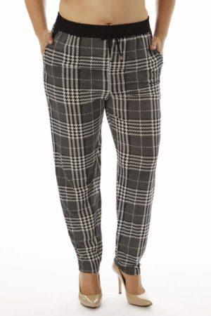 Grey Plaid Print Plus Size Soft Pants