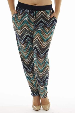 Wholesale Plus Size Teal Chevron Print Soft Pants (Assorted Bundle 1X-2X-3X)