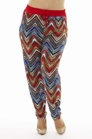 Wholesale Plus Size Ruby Chevron Print Soft Pants (Assorted Bundle 1X-2X-3X)