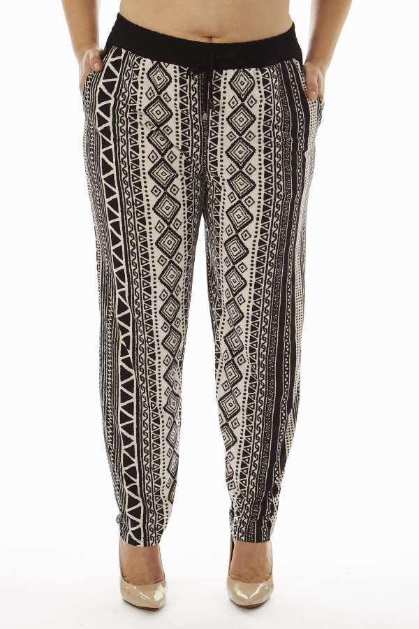 Tribal Zig Zag Print Plus Size Soft Pants