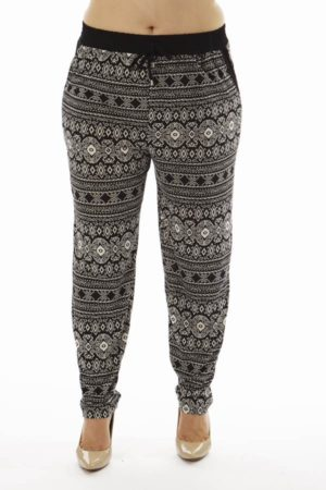 Geometric Tribal Print Plus Size Cigarette Trousers