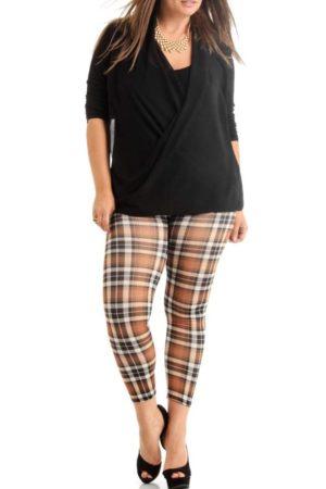 Brown Plus Size Plaid Ankle Leggings