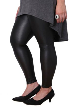 Wholesale Plus-Size Black Leather Leggings (Assorted Bundle 1X-2X-3X)