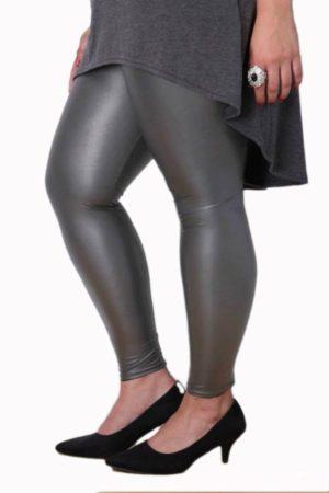 Wholesale Plus-Size Gray Leather Leggings (Assorted Bundle 1X-2X-3X)