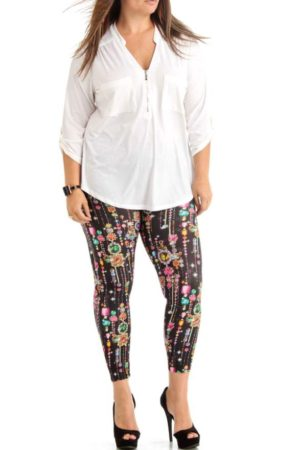 Black Dripping Jewels Ankle Length Leggings Wholesale (Assorted Bundle 1X-2X-3X)