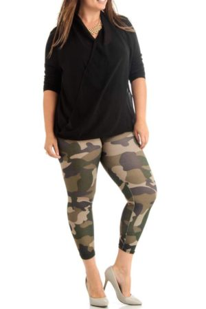 Green Camo Activewear Leggings Wholesale (Assorted Bundle 1X-2X-3X)