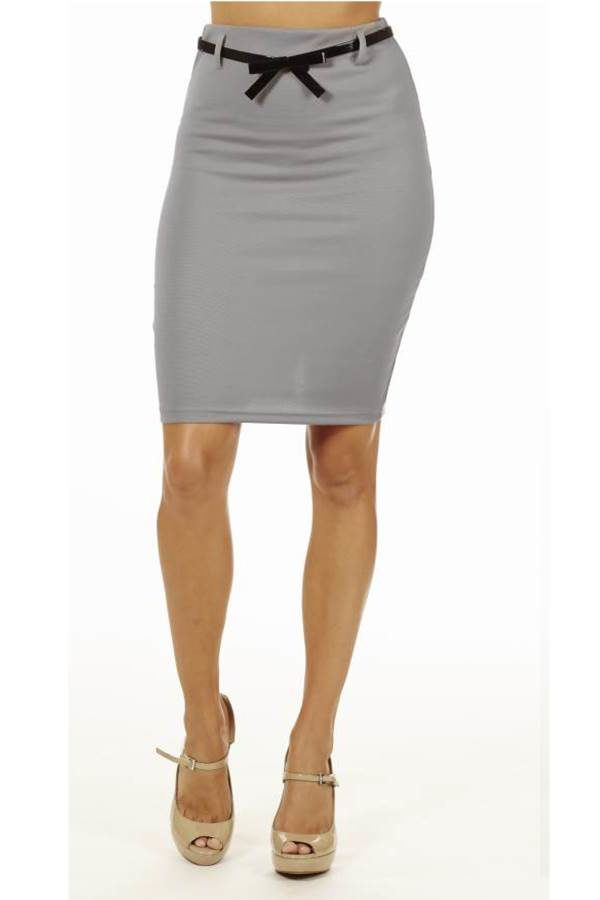 Light Grey High Pencil Skirt