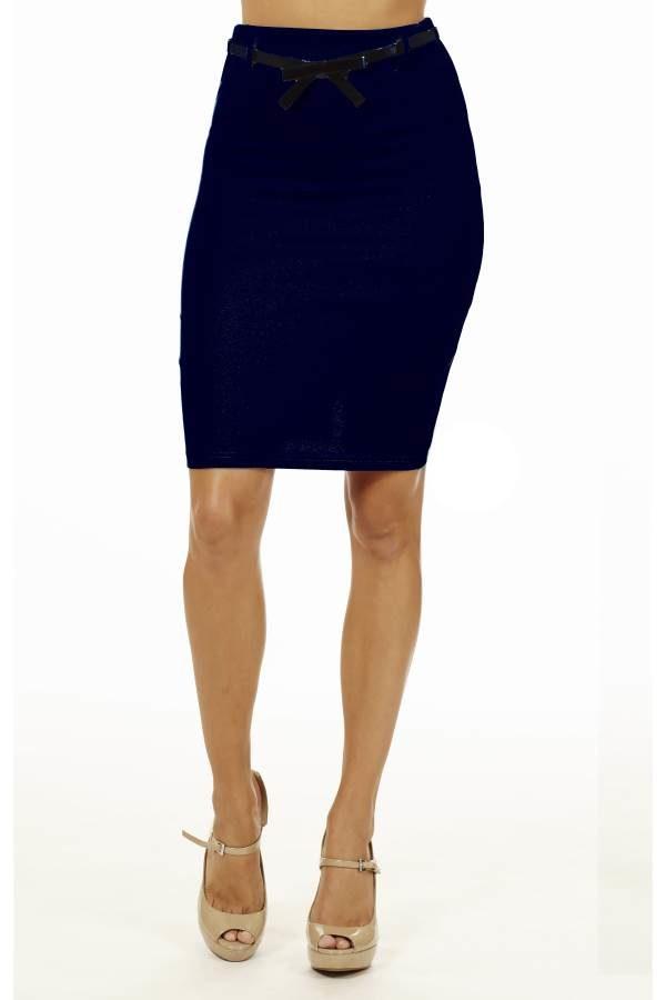 Navy High Pencil Skirt