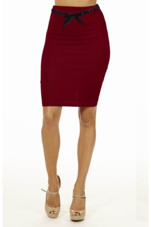 Burgandy High Pencil Skirt