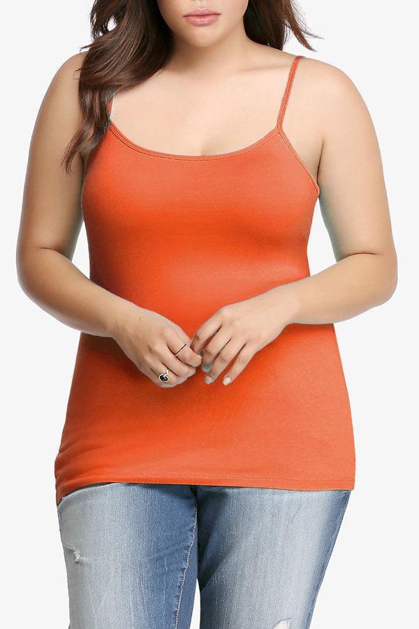 Orange Plus Size Seamless Cami Tank Top