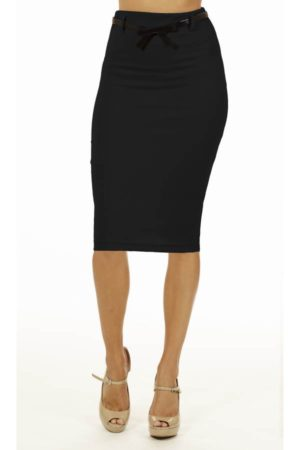 Black Below Knee Pencil Skirt