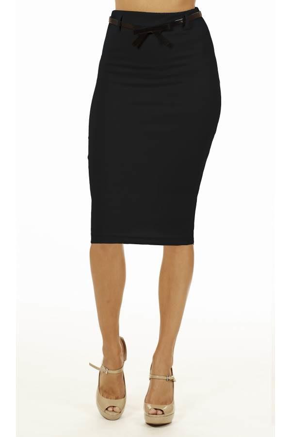 Black Below Knee Pencil Skirt