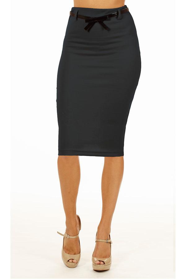 Dark Grey Below Knee Pencil Skirt