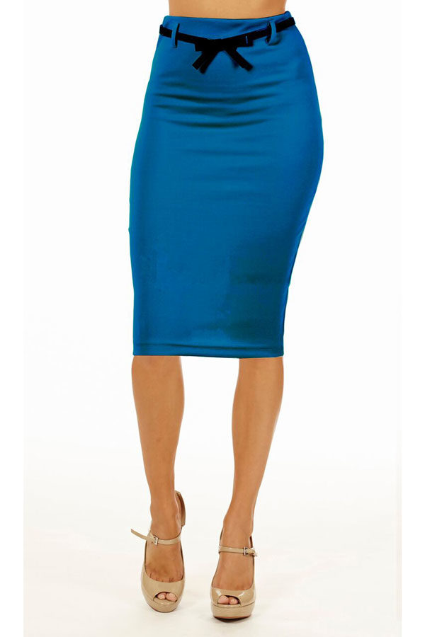 Jade Below Knee Pencil Skirt